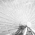Panoramic Chicago Ferris Wheel In Black And White by Paul Velgos