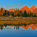 Panoramic Dawn At Schwabacher Landing by Greg Norrell