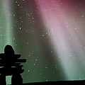 Panoramic Inukshuk Northern Lights by Mark Duffy