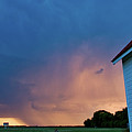 Panoramic Lightning Storm And Church by Mark Duffy