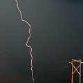 Panoramic Lightning Storm And Power Poles by Mark Duffy