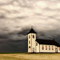 Panoramic Lightning Storm And Prairie Church by Mark Duffy
