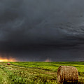 Panoramic Lightning Storm In The Prairies by Mark Duffy
