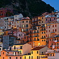 Panoramic Manarola Buildings In Cinque Terre Night by Songquan Deng