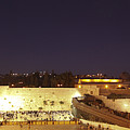 Panoramic Night View Of The Wailing Wall  by Alon Meir