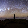 Panoramic Of Milky Way And Salar De Uyuni From Summit Of Incahuasi Island by James Brunker