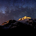Panoramic Of Milky Way Setting Above Mt Huayna Potosi Bolivia by James Brunker