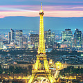 Panoramic Of Paris City And Eiffel Tower At Dusk, France by Matteo Colombo