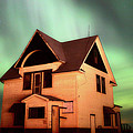 Panoramic Prairie Northern Lights And House by Mark Duffy