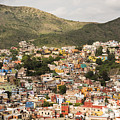 Panoramic View Of Colorful Hillside Homes In Guanajuato Mexico by Juli Scalzi
