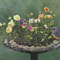 Pansies and Bluebird