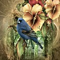 Pansies And Bluebird by G Berry