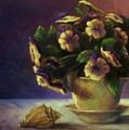 Pansies And Celadon by Ruth Stromswold