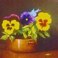 Pansies In Copper Bowl by David Olander
