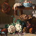 Pantry With Artichokes Cauliflowers And A Basket Of Mushrooms by Alexandre-Francois Desportes