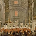 Papal Ceremony In St Peter In Rome Under The Canopy Of Bernini by Ingres Jean Auguste Dominique