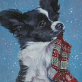 Papillon Puppy With Xmas Stocking by Lee Ann Shepard