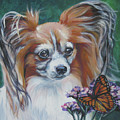 Papillon With Monarch by Lee Ann Shepard