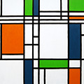 Parallel Lines Composition With Blue Green And Orange In Opposition by Oliver Johnston