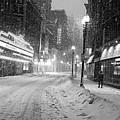 Paramount Snowstorm Boston Ma Washington Street Black And White by Toby McGuire