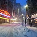 Paramount Snowstorm Boston Ma Washington Street by Toby McGuire