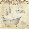 Parchment Paris - Le Bain Or The Bath Chandelier And Tub With Roses by Audrey Jeanne Roberts