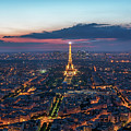Paris And Eiffel Tower At Dusk by James Udall