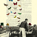 Inside Of A French Bistro At Paris And Rainbow Butterflies by Madame Memento