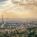 Paris Eiffel Skyline And Cityscape Aerial View At Sunset From Montparnasse Tower Observation Deck  by Mohamed Kazzaz
