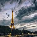 Paris Eiffel Tower At Dusk by Alissa Beth Photography