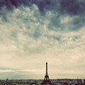 Paris, France Skyline With Eiffel Tower. Dark Clouds, Vintage by Michal Bednarek