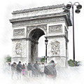 Paris, France  Triumphal Arch  Illustration by Cranach Studio