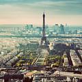 Paris, France Vintage Skyline, Panorama. Eiffel Tower, Champ De Mars by Michal Bednarek
