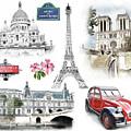 Paris Landmarks. Illustration In Draw, Sketch Style.  by Cranach Studio
