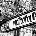 Paris Metro Sign Bw by Joan Carroll
