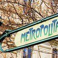 Paris Metro Sign Color by Joan Carroll