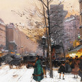 Paris, Porte Saint Denis In Winter by Eugene Galien-Laloue