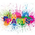 Paris Skyline Paint Splatter Text Illustration by Jit Lim