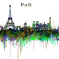 Paris Skyline Watercolor by Marian Voicu