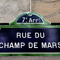 Paris Street Sign - Champ De Mars by Georgia Fowler