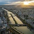 Paris Sunrays Dusk Along The Seine by Mike Reid