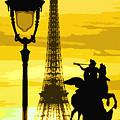 Paris Tour Eiffel Yellow by Yuriy Shevchuk