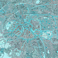 Paris Traffic Abstract Blue Map by Drawspots Illustrations