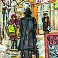 Park Ave Barcolo Bistro Hasidic Man Baby Carriage Rialto Winter Scene Art Montreal Carole Spandau    by Carole Spandau