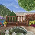Park Bench In A Garden by Patty Vicknair