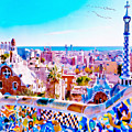 Park Guell Watercolor Painting by Marian Voicu