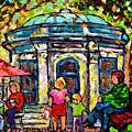 Park St Louis Square Cafe Kiosk Painting St Denis Prince Arthur Plateau Mont Royal Art C Spandau     by Carole Spandau