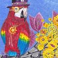 Parrot In Gear Tree by Candice Davis