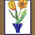 Parrot Tulips In The Blue Vase Watercolor On Canvas by Irina Sztukowski