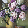 Parrot Tulips In Yellow Pitcher by Michael Scherer